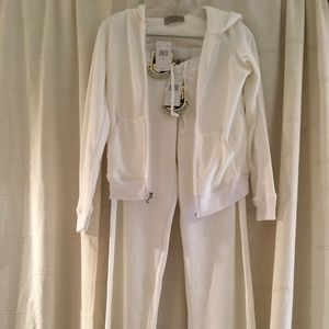 NWT Juicy Couture Velour Tracksuit-White Size M